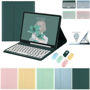 For iPad 5/6/7/8th Gen Air Pro Bluetooth Keyboard Mouse Flip Leather Case Cover