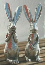 so süßes Hasenpaar edel silber Landhaus Ostern Osterhase shabby Ohren