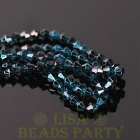 New Arrival  200pcs 4mm Faceted Bicone Loose Spacer Glass Beads Peacock Blue