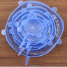 6Pcs Silicone Stretch Suction Pot Lids Kitchen Cover Pan Bowl Stopper Universal.