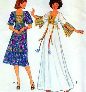 "Vintage 70s CAFTAN or DRESS Sewing Pattern UNCUT Bust 36"" 92 cm Sz 12 RETRO Maxi"