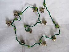 "Brass Bells on 48"" Green Cord 12 Bells Glass Beads Ring Hanger  NEW"