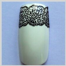Nail Art Water Decals/Stickers/Transfers/Wraps Black Lace Swirls 4 Strips #21