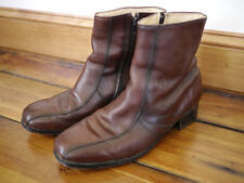 Vtg 70s NUNN BUSH Leather MOD Monk Zip Up ANKLE BOOTS USA Union 8.5 EEE 42