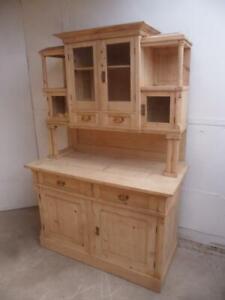 An Original Arts&Crafts Antique/Old Pine Glazed Kitchen Dresser To Paint/Wax