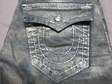 TRUE RELIGION MENS RICKY SUPER T LIMITED EDITION GRAY SILVER COATED JEANS 31 NEW