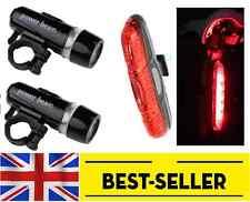 Two front 5 led + rear 5 led lights set bike- red torch lantern light 7 modes UK
