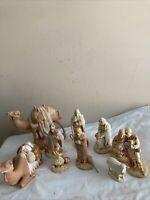 LARGE HOLLAND MOLD WHITE POTTERY 10PC. CHRISTMAS NATIVITY CAMELS SET