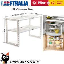 Adjustable 2 Tier Under Sink Shelf Kitchen Storage Organize Rack Holder