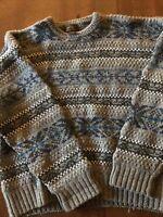 eddie bauer Mens 100% Shetland Wool Gray Sweater Size XL