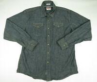 Wrangler Indigo Mens Western Pearl Snap Denim Shirt Size Large