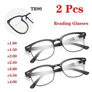2x Reading Glasses Women Mens Plastic Half Frame 1.0 1.5 2.0 2.5 3.0 3.5 4.0