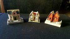 Vintage Lot 3 Christmas Village Cardboard Putz Large House Japan Mica Glitter
