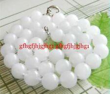 10mm White Jade Gemstone Beads Necklace 20''