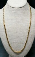 "Vintage Monet Gold Tone 5MM Curb Link Necklace 24"" Length"