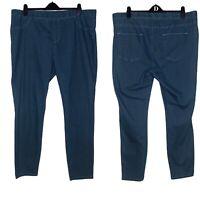 Avon Women Jegging UK 22 24 Denim Blue Elastic Waist Tapered Pockets Cotton Mix
