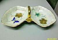 @AC-CH CZECHOSLOVAKIA LIPPER & MANN HAND PAINTED DIVIDED DISH w/ HANDLE #17 / 62