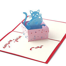 3D Pop UP Greeting Card Cat Cute Handmade Invitation Lovely Birthday Gift Box