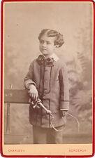 Photo cdv : Charles ; Petit garçon fouet à la main en pose , vers 1870