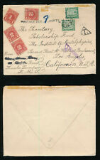 MALAYA 1941 UNDERPAID to USA POSTAGE DUES 7c + KTL TRIANGLE + CENSOR to LA
