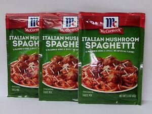 Mccormick Italian Mushroom Spaghetti Sauce Mix Seasoning Packets lot of 3 FRESH