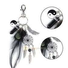 Fashion Keychain Feather Dream Catcher Gemstone Palm Keyring Key Chain Ring Gift