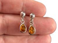 Sterling Silver & Amber Post Earrings Fine Dangle Tear Drop Pierced