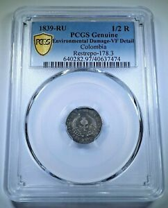 PCGS Colombia 1839 Silver 1/2 Real Antique Rare 1800's Popayan VF Colombian Coin