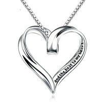 Sterling Silver Engraved Message Tag Necklace Pendant Birthday Mum Friend Family