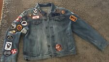 Vintage GAP jean jacket with vintage patches/ Custom/ One of a Kind