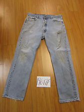 Used Levi 501 feathered grunge repaired jean tag 38x34 meas 34x30.5 19697F