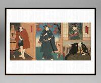 UTAGAWA KUNISADA (1786-1865) ANCIENNE ESTAMPE JAPONAISE TRYPTIQUE (10)