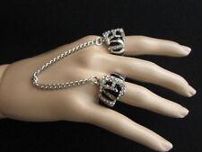 New Women Silver Black Ring Tiger Print Metal Elastic Band 2 Finger Rhinestones