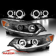 [Dual Led Halo] 2009 2010 2011 2012 2013 2014 For Acura Tsx Projector Headlights (Fits: Acura)