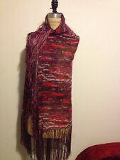 Isabel Marant for H&M Red Fringe Multi-Color Scarf NWT Boho Chic