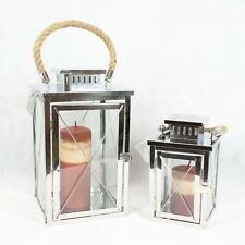 Large Stainless Steel Lantern Set Light With Rope Handles for Home Garden Patio