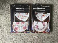 2 WonderArt Rose Dresser Scarf Stamped Cross Stitch Kit  Circle 1336 & 1340