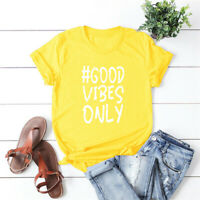Women's Good Vibes Only Casual Funny Hipster Short Sleeve Top Blouse Tee T-Shirt