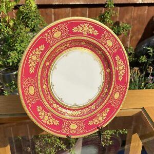 Minton Prestige H5310 Ruby Red Argyle Heavy Gilt Gold 20cm Side Or Cabinet Plate