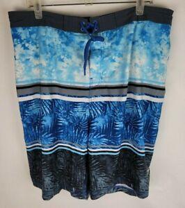 Speedo Mens Size XXL Blue White Tropical Pocketed Built in Underware Swim Trunks