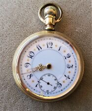 ANTIQUE 1904 ELGIN FANCY DIAL OPEN FACE GOLD FILLED POCKET WATCH
