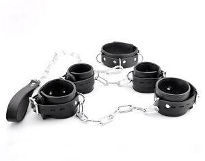 PREMIUM COMPLETE RESTRAINT SET Handcrafted Leather Cuffs BLACK Set10Blk