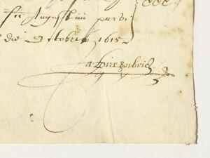 1615 James I Era Document Ex Earl Guilford Waldershare Park Estate #T142B