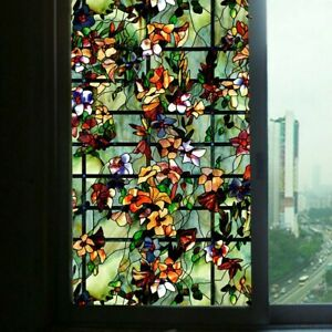 3D Static Cling Window Films Frosted Stained Camellia Glass Sticker Modern Decor