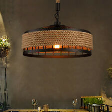 Industrial Pendant Light Retro Vintage Chandelier Hemp Rope Ceiling Lamp