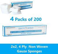 2x2 Non Woven Gauze Sponges 4-Ply, Non-Sterile Cotton Dental Medical (800 Pack)