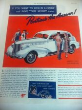 1938 Pontiac Silver Streak Sedan ORIGINAL AD - Great Garage Decor..