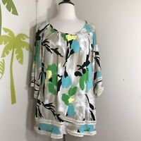 New Style & Co Malibu Boom Spray Spring Floral Blouse Top Sz Medium Lace Trim