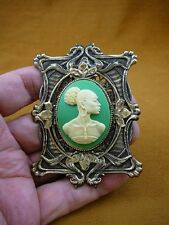 (CA20-36) RARE African American LADY green + ivory CAMEO Pin Pendant JEWELRY