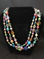 Vintage Plastic Bead Necklace Multi-Color Pastel Silver Beads 3-Strand c. 1970s